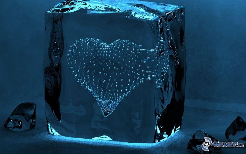 hjärta, is, bubblor