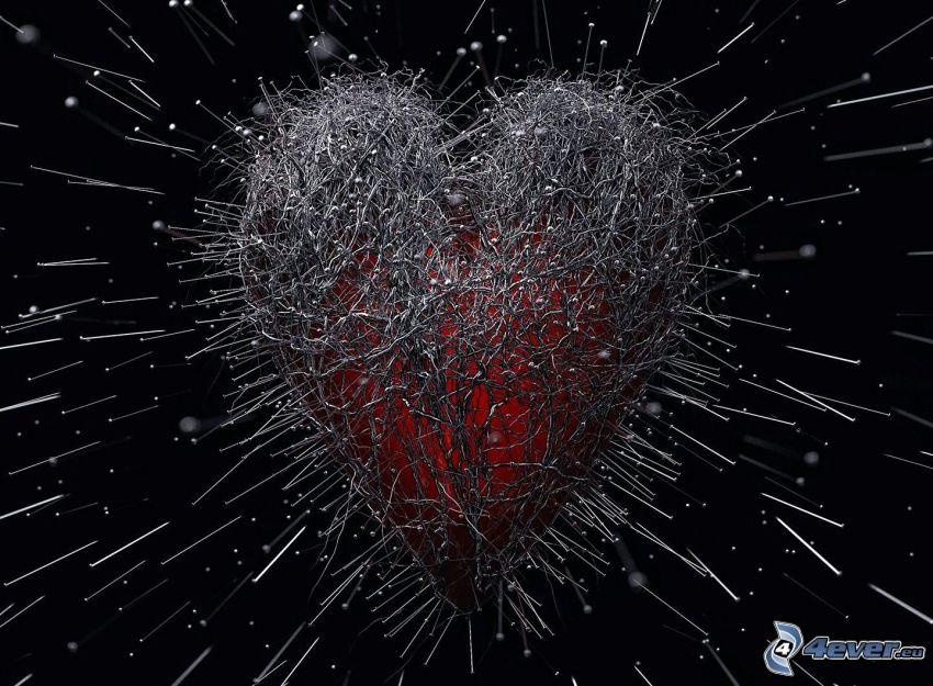 hjärta, knappnålar