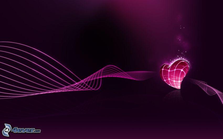 hjärta, linjer, digital konst