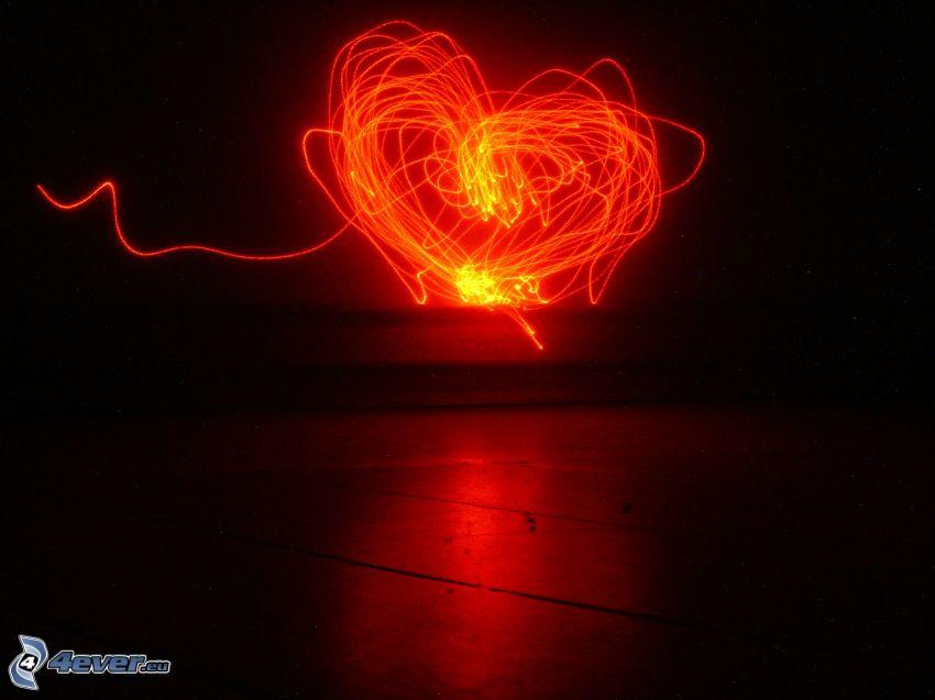 hjärta, ljus, lightpainting