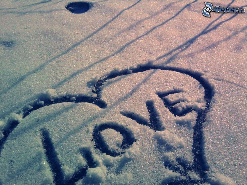 hjärta, love, snö