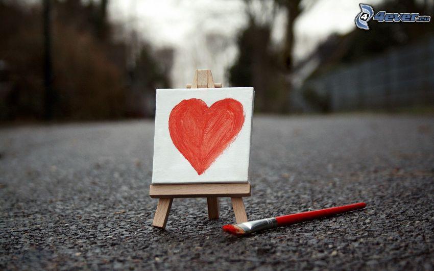 hjärta, målarduk, pensel, teckning