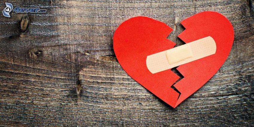 hjärta, plåster, trä