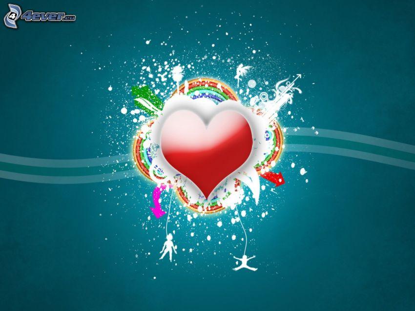 hjärta, regnbåge, blå bakgrund, digital konst
