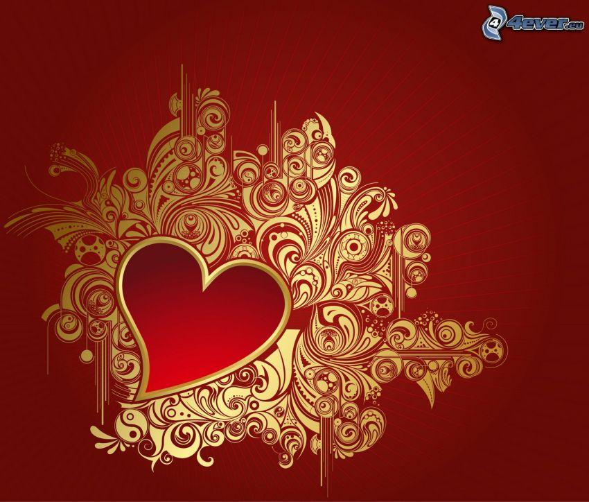 hjärta, röd bakgrund, former