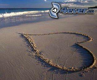 hjärta, sand, strand, hav