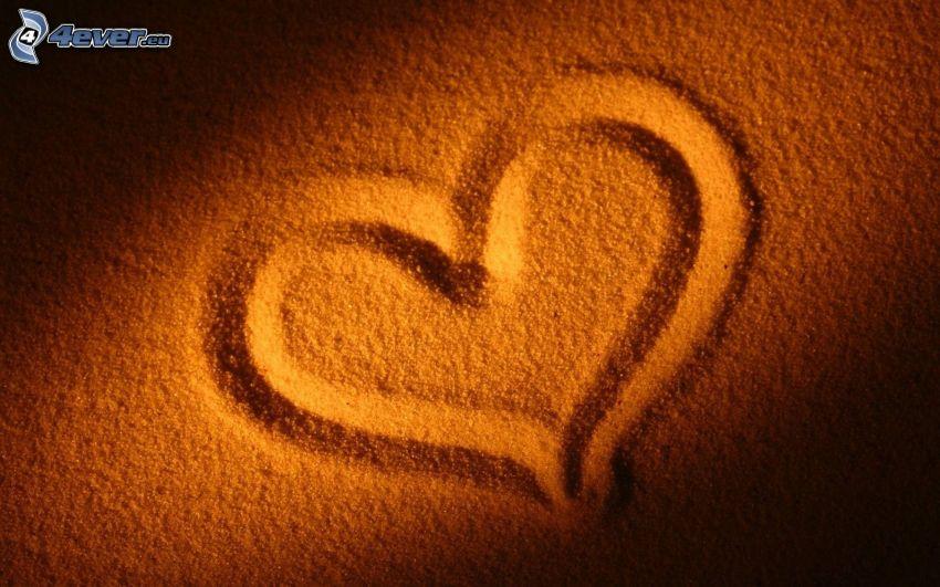hjärta, sand