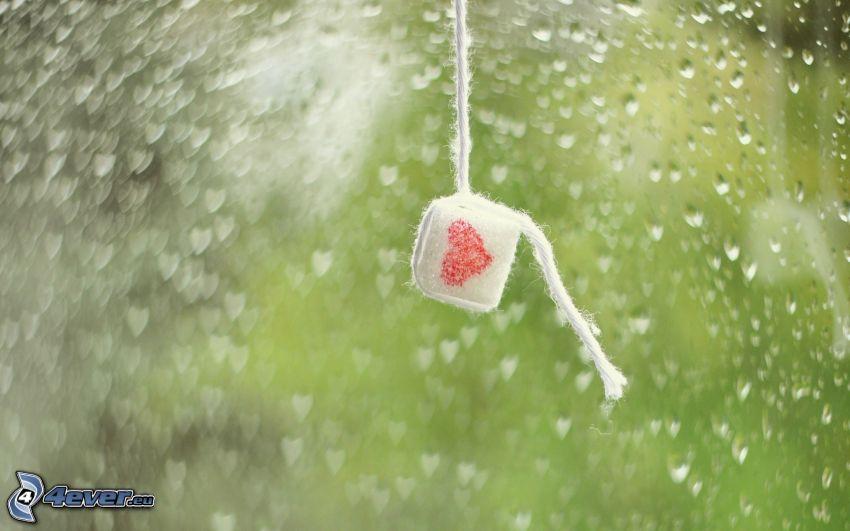 hjärta, sockerbitar, vattendroppar