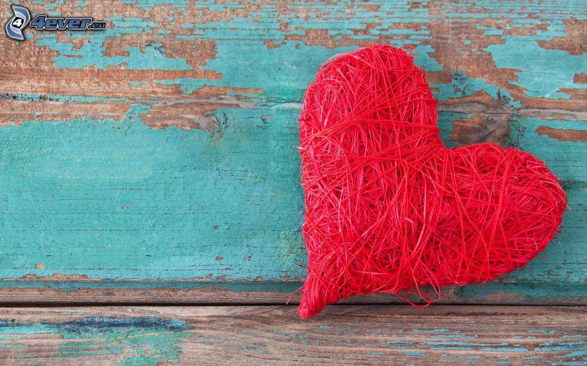 hjärta, ståltråd, trä