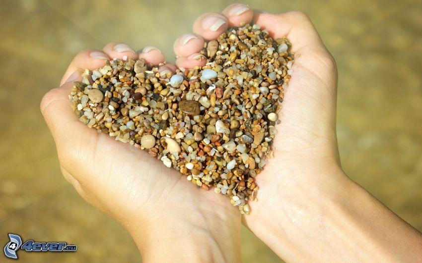 hjärta, stenar, händer