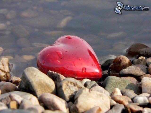 hjärta, stenar, vatten