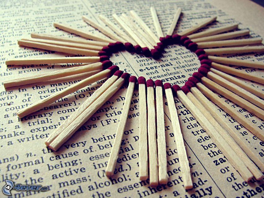 hjärta, tändstickor