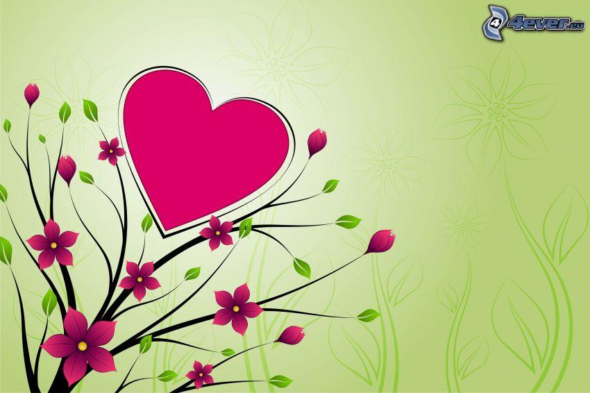 hjärta, tecknade blommor