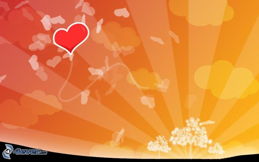 hjärta, tecknade träd, solstrålar, ballong