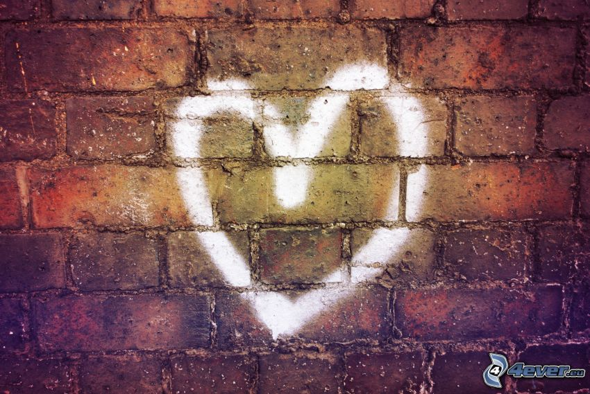 hjärta, tegelvägg