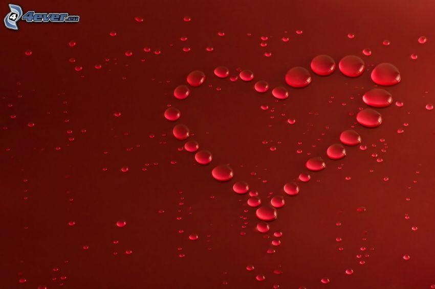 hjärta, vattendroppar