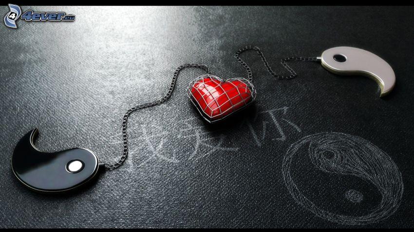 hjärta, yin yang