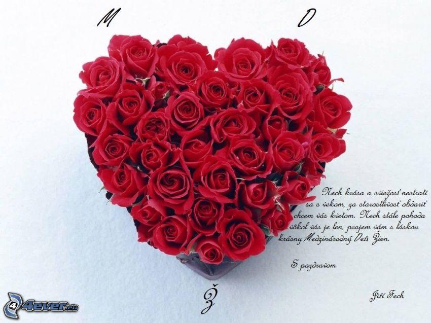 hjärta av blommor, röda rosor, text om kärlek