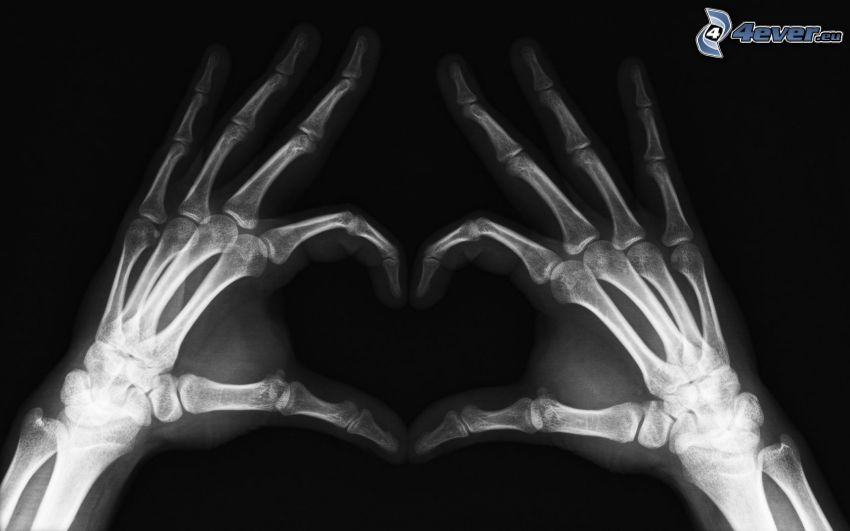 hjärta av händer, skelett, ben