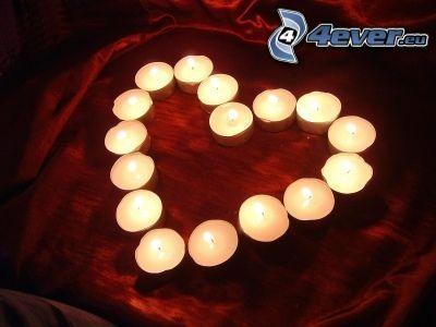 hjärta av stearinljus