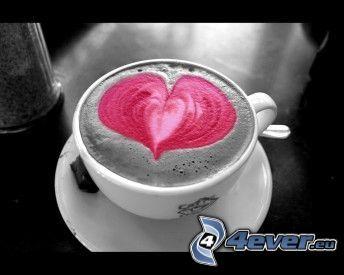 hjärta i kaffe, latte art