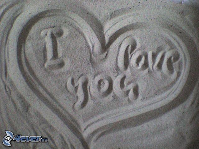 hjärta i sand, I love you