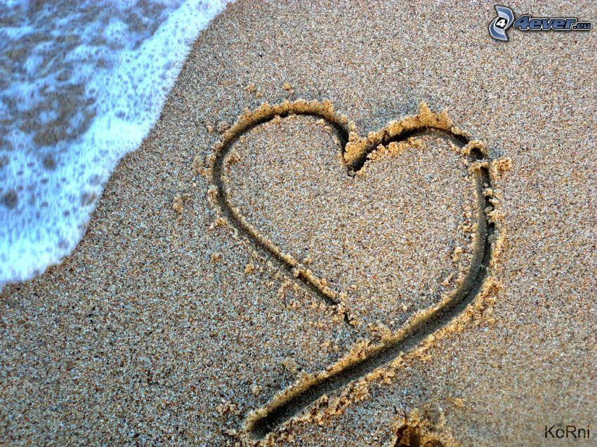 hjärta i sand, strand, vatten