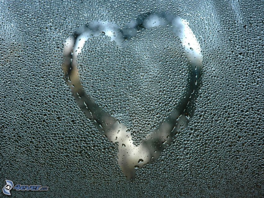 hjärta på fönster