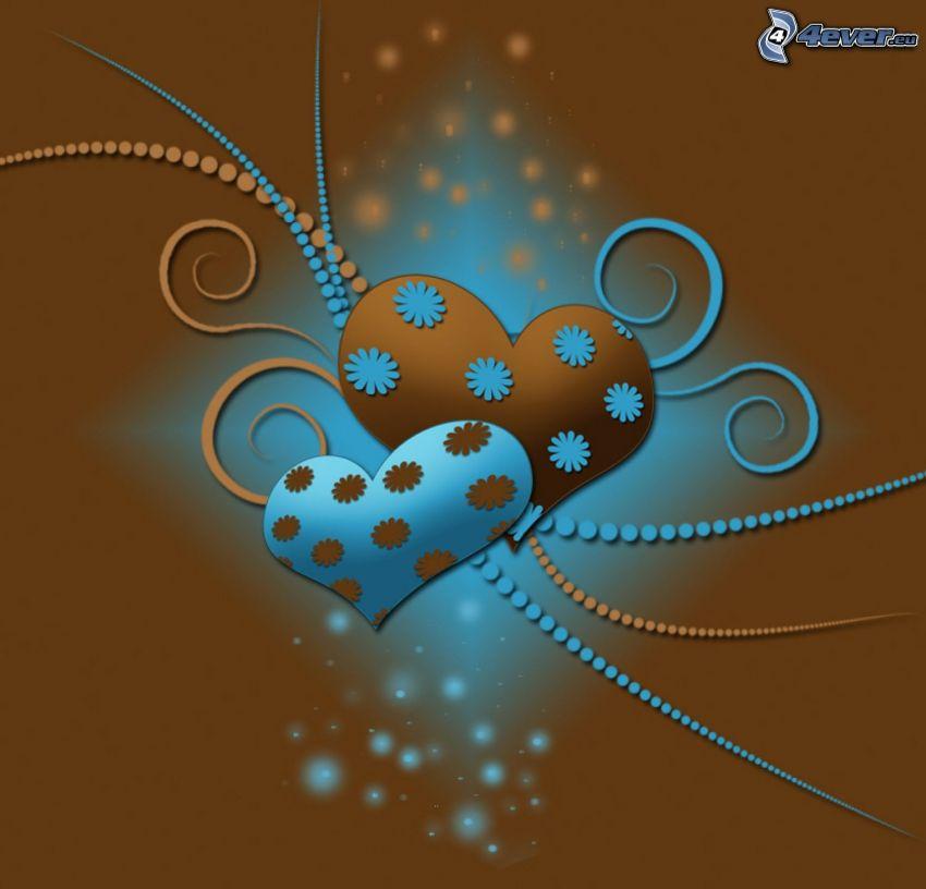 hjärtan, blommor, kulor, brun bakgrund