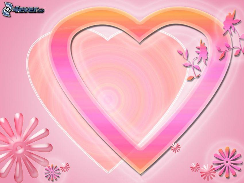 hjärtan, blommor