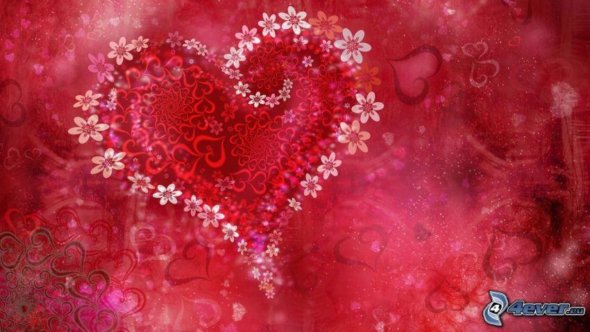 hjärtan, digitala blommor