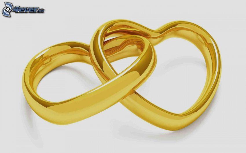 hjärtan, guld, vigselringar