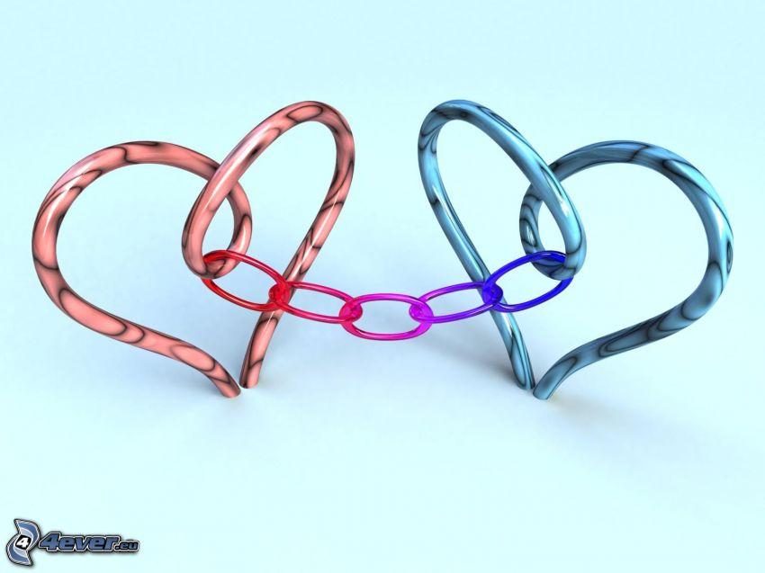 hjärtan, kedja, digital konst