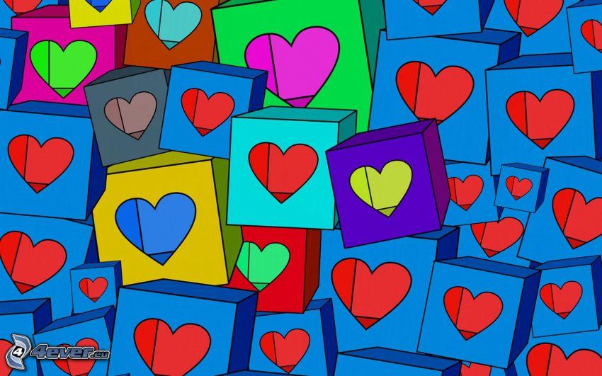 hjärtan, kuber, tecknat