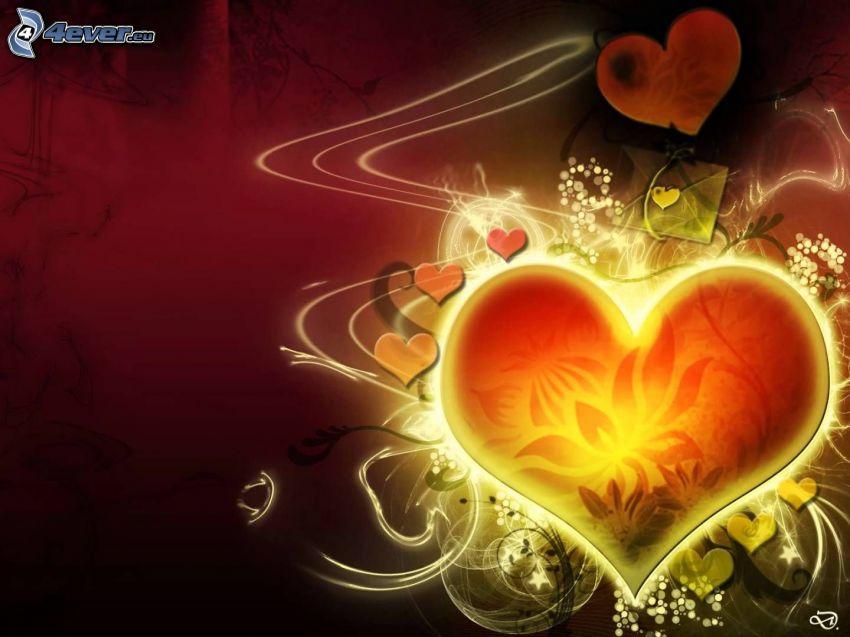 hjärtan, ljus