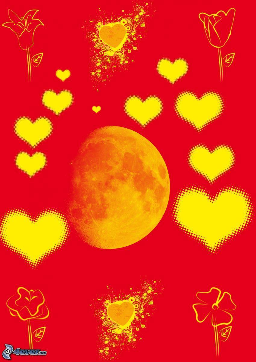 hjärtan, orange måne, tecknade blommor