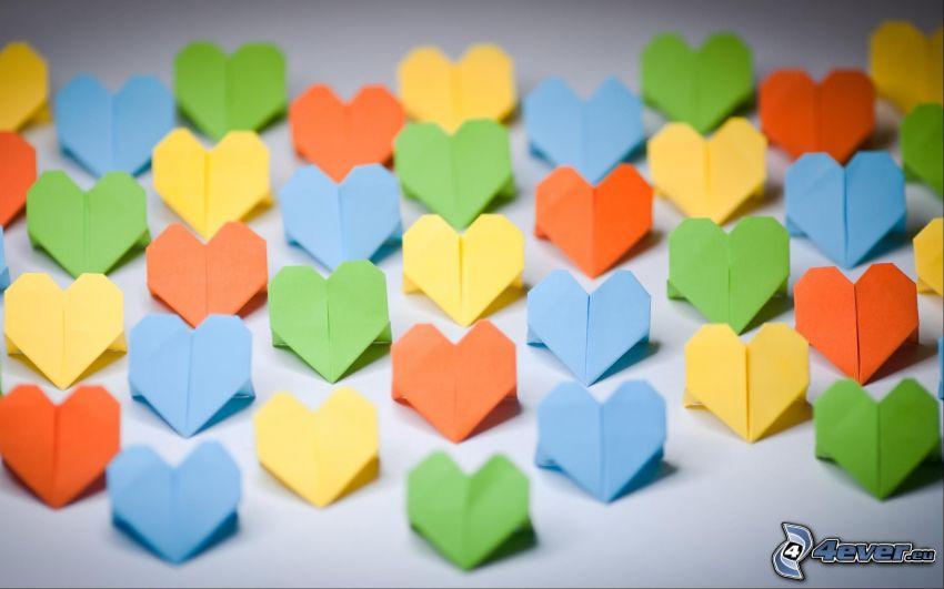 hjärtan, origami, färggranna papper