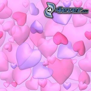 hjärtan, rosa, lila, kärlek