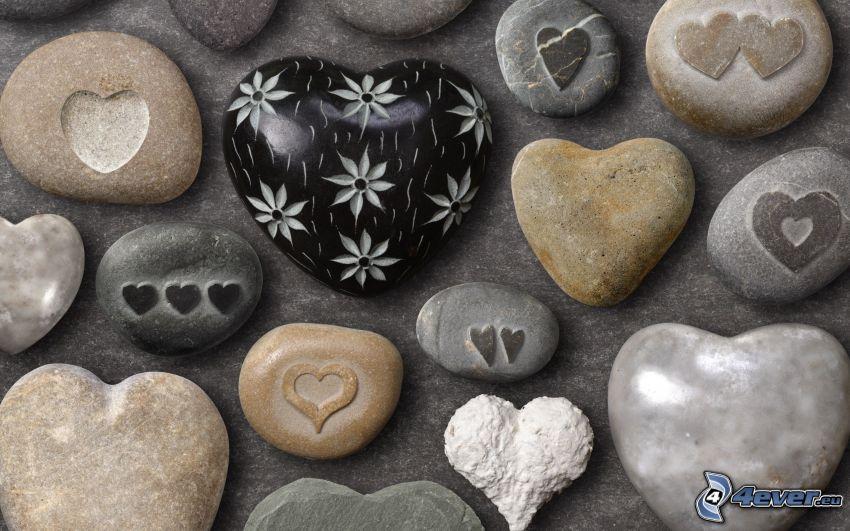 hjärtan, stenhjärta, stenar