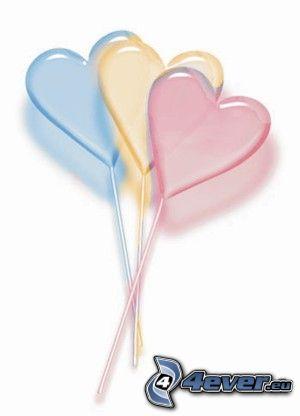 hjärtformade klubbor, lila, gul, rosa