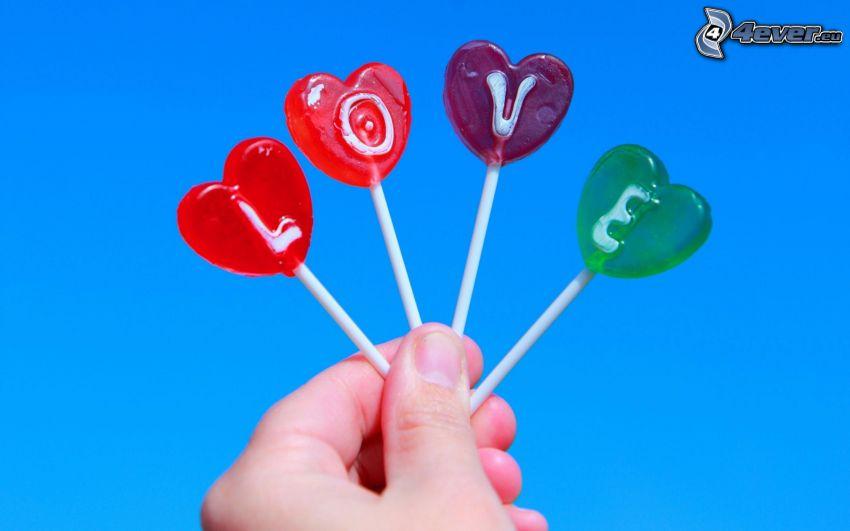 hjärtformade klubbor, love, hand