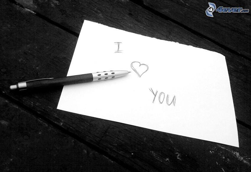 I love you, hjärta, bläckpenna, papper