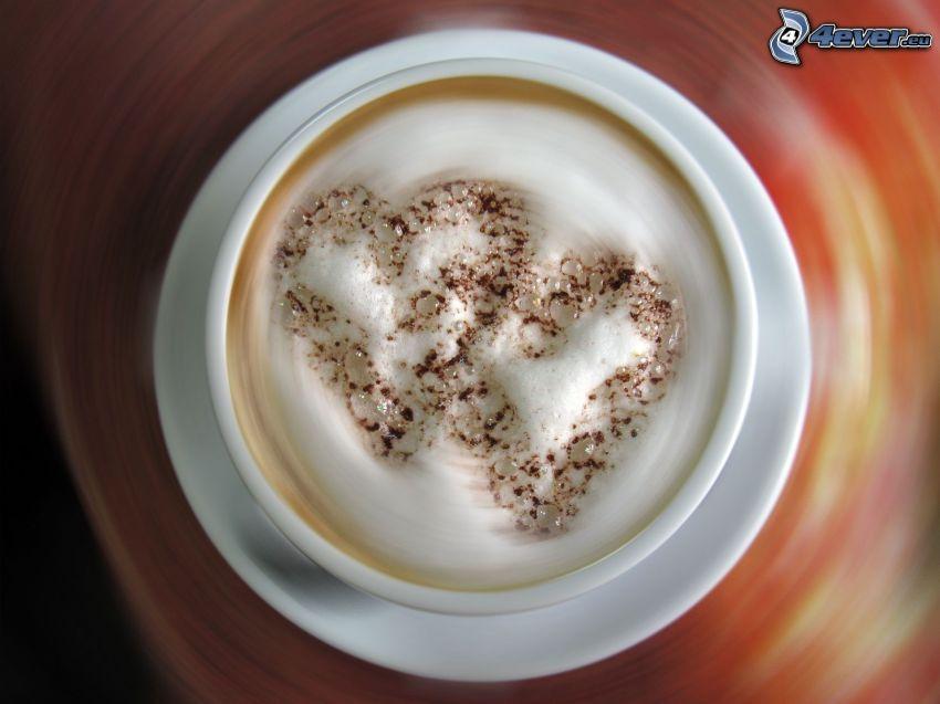 kaffe med grädde, två hjärtan, latte art
