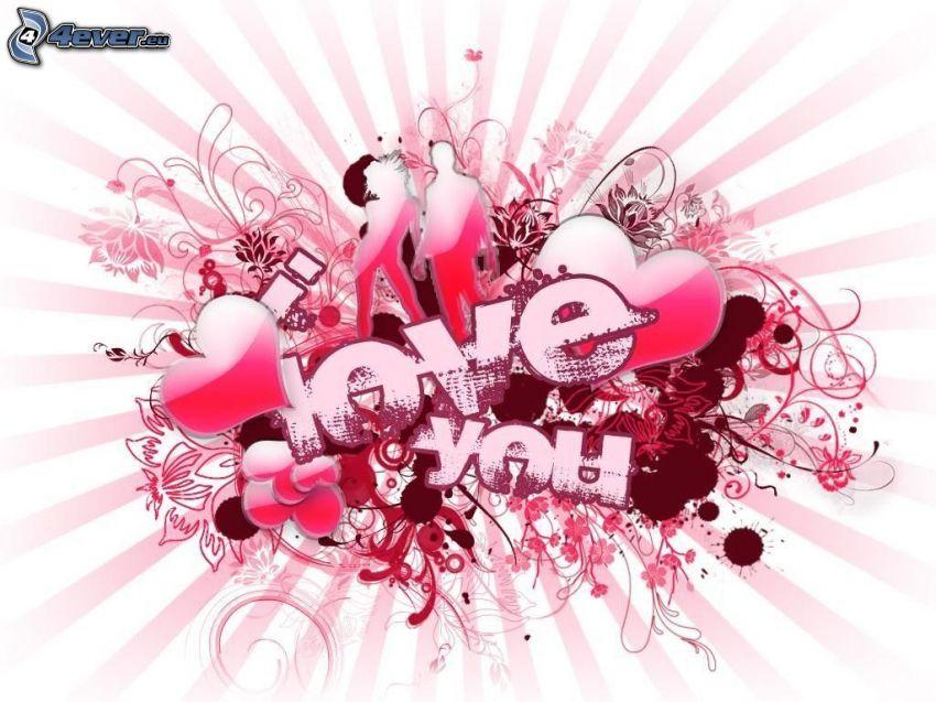 kärlek, hjärta, par, Love You