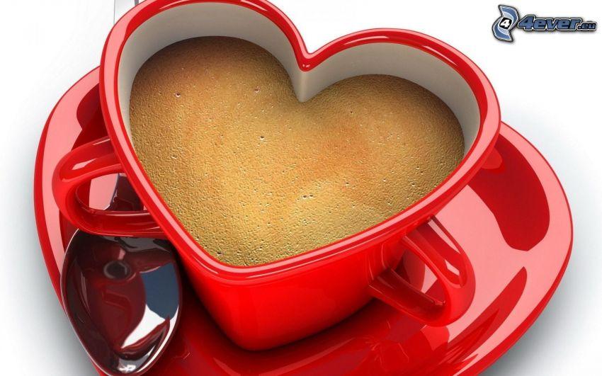 kopp, hjärta, kaffe, sked