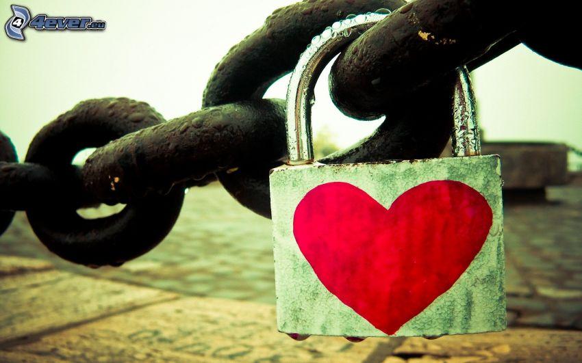 lås, hjärta, kedja
