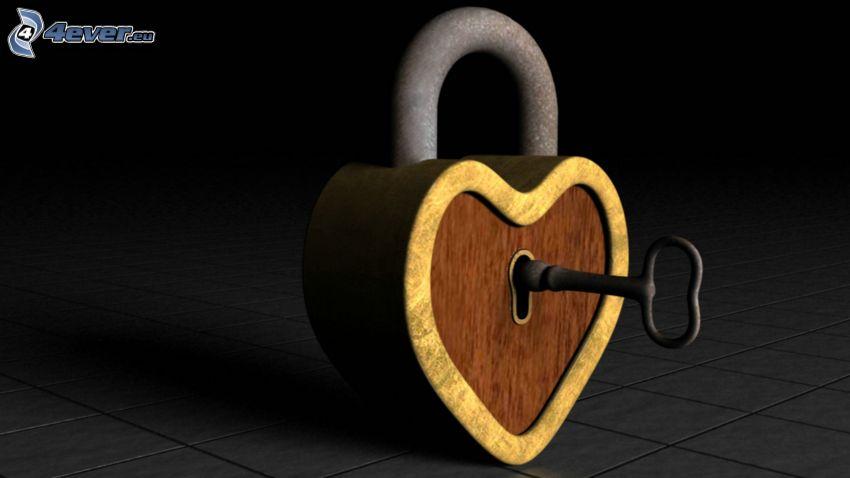lås, hjärta, nyckel