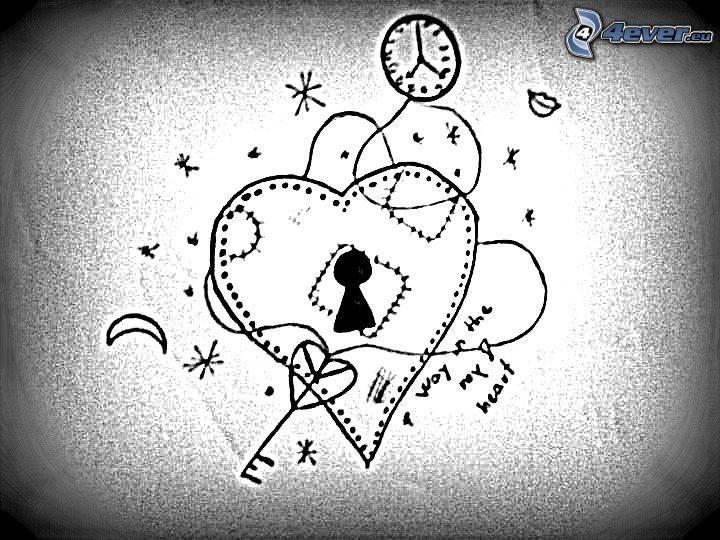 låst hjärta, nyckel