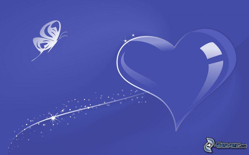 lila hjärta, bubbla, fjäril