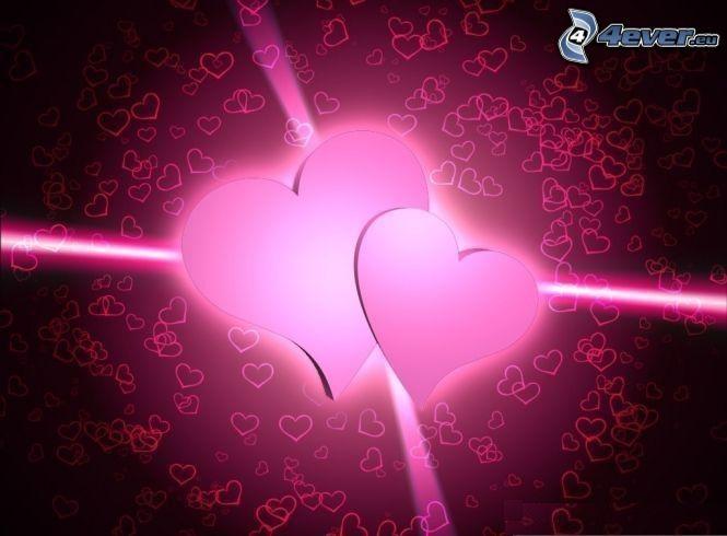 lila hjärtan, två hjärtan